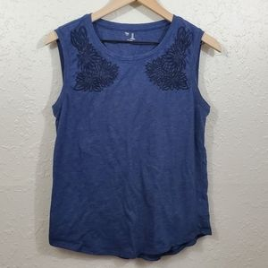 GAP Blue Floral Embroidered Tank Top